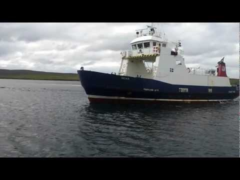 Shetland Islands Council Ferry - MV GEIRA - arriving into Belmont, Unst from Gutcher, Yell