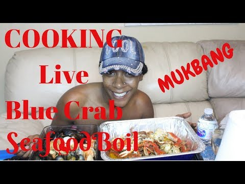 Seafood Boil Mukbang Cooking live Crabs Scampi Recipe Included