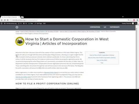 How to Start a Corporation in West Virginia | WV Secretary of State