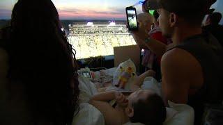 Iowa Fans Wave to Kids at the Children