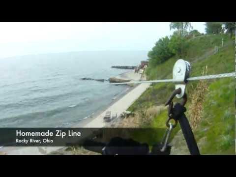 Homemade Zip Line into Lake Erie