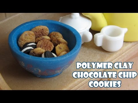 Miniature chocolate chip cookies - Polymer clay tutorial by Talty