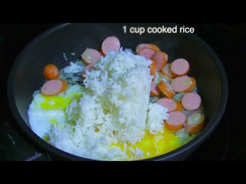 Fried Rice with Egg, Hot Dog, and Ketchup Recipe : ข้าวผัดใส่ไข่ฮอทดอกและซอสมะเขือเทศ