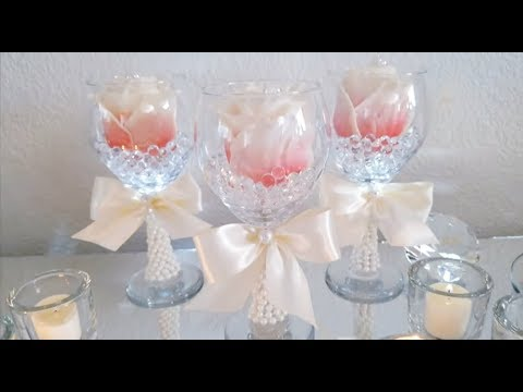 DIY | DOLLAR TREE LIGHT UP WINE GLASS CENTERPIECE | NAPKIN HOLDERS | BUDGET FRIENDLY 2018