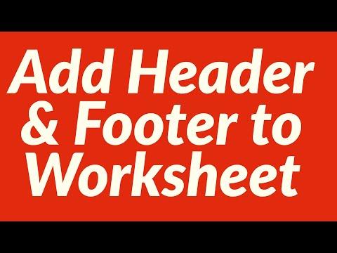 Add Header Footer to Worksheet