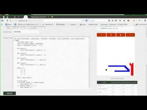 Python bot for snake game at coding dojo during pyconpl 2014