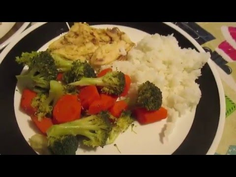 cooking Tilapia, Vegetables and Steamed Rice