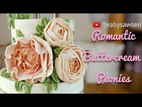 Buttercream peonies, romantic ruffled flowers, roses & peony buds - how to pipe