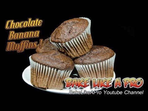 Easy Moist Chocolate Banana Muffins Recipe !