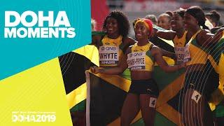 Jamaica Wins Women's 4x100m Gold   World Athletics Championships 2019   Doha Moments