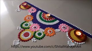 Very beautiful and attractive semi - circle flower rangoli designs|diwali festival rangoli designs