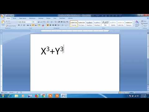 How to type cubed symbol in word