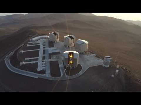 4 Lasers of the Very Large Telescope in Paranal, view from the air.