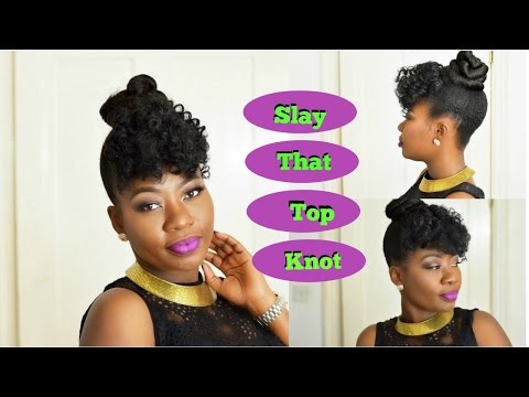 Top Knot with Curly Bangs on Short - Medium Hair |Beginner Friendly | Simple & Easy