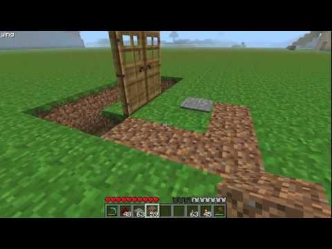 Minecraft: How To Make a Double Door w/ a Pressure Plate
