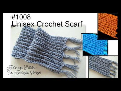 UNISEX RIBBED CROCHET SCARF, crochet tutorial, free pattern, #1008