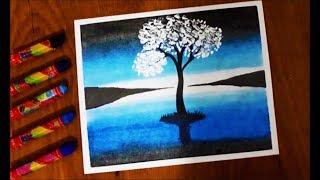 Pastel Boya çalışması How To Paint A Scenery Of Sunset