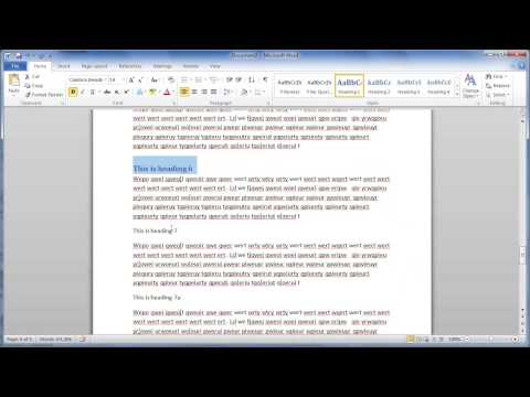 MS Word Heading Styles and Table of Contents - CADclips