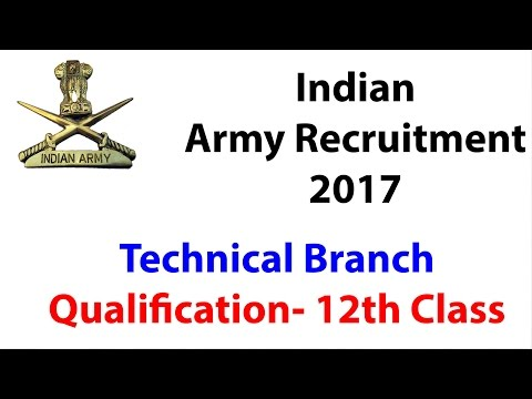 Indian Army Recruitment 2017 : Technical Branch | Qualification- 12th Class