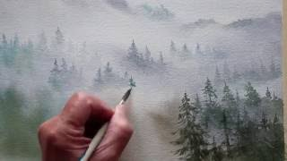 watercolor trees in the mist