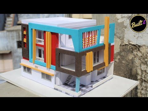 HOW TO MAKE MINIATURE DOUBLE STOREY ARCHITECTURAL HOUSE MODEL with paper -SIC Studio in Creativity