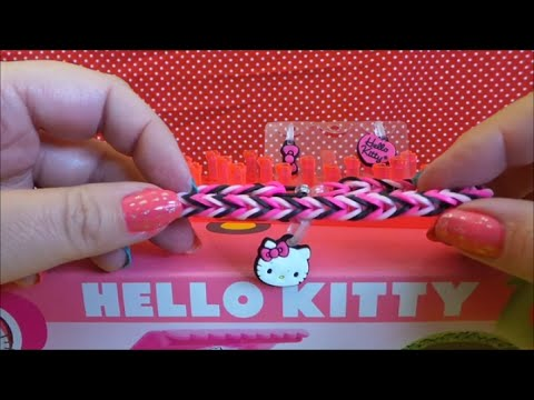 Tutorial on how to make a Fantastic Fishtail Hello Kitty Loom Band Bracelet with charm