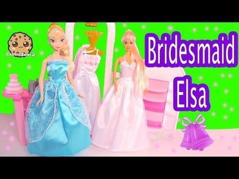 Disney Frozen Queen Elsa Bridesmaid Dress Up at Barbie Wedding Boutique Playset - Cookieswirlc