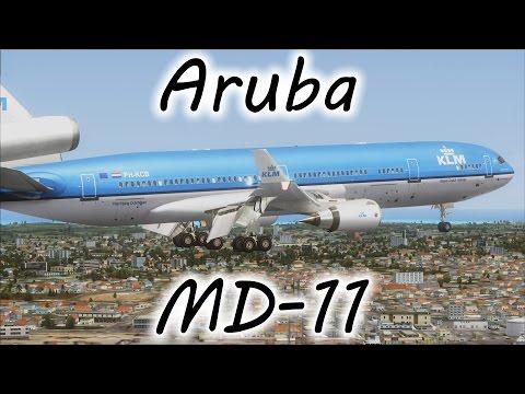 FSX | KLM MD-11 Landing at Aruba's Queen Beatrix Int'l Airport (TNCA) (Multiple Views)