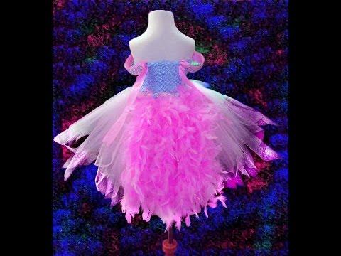 No Sew Pink Princess Feather Tutu Dress