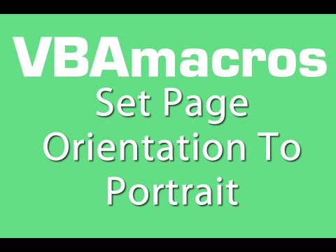 Set Page Orientation To Portrait - VBA Macros - Tutorial - MS Excel 2007