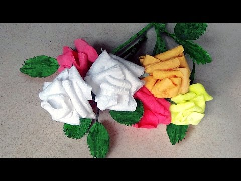 How To Make Rose Flowers With Paper Napkins |