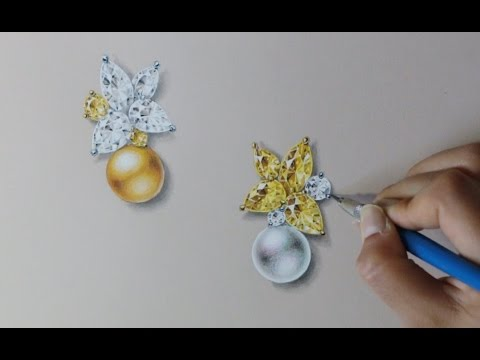 Jewelry rendering - Yellow Combo Pearl & Diamond E