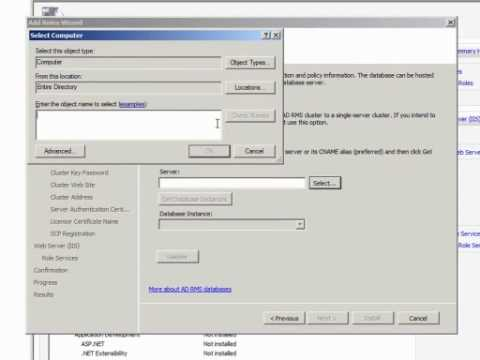 Installing Active Directory Rights Management Services