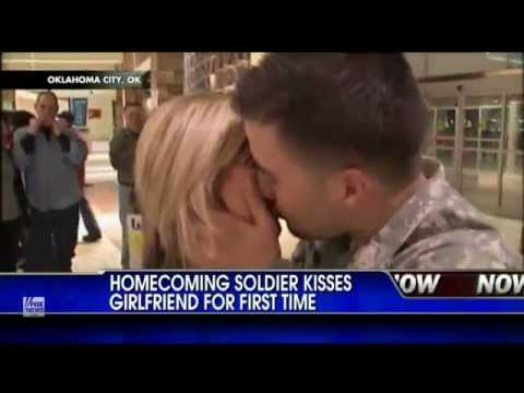 Soldier Meets Girlfriend For First Time