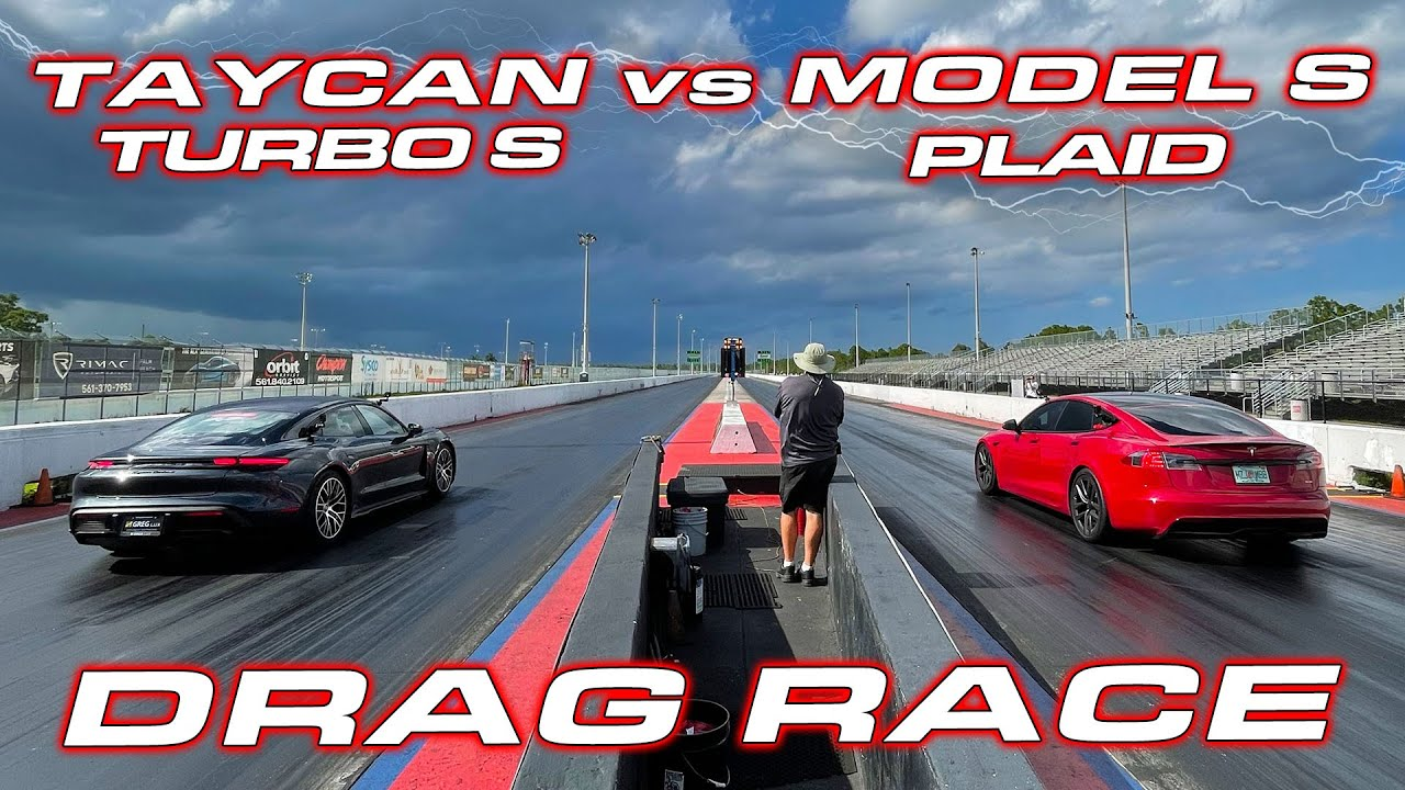 1,020 HP PLAID vs TAYCAN * Tesla Model S Plaid vs Porsche Taycan Turbo S 1/4 Mile Drag Race