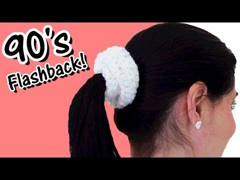 Very Easy Crochet Hair Scrunchie - 90's Flashback!