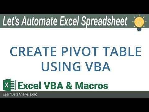 Create Excel Pivot Table using VBA | Excel VBA Automation