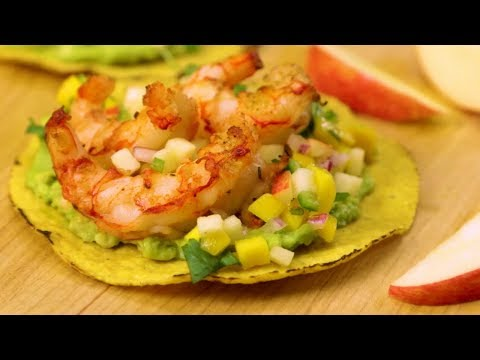 Grilled Shrimp Tostadas with Pinata Apple & Mango Salsa
