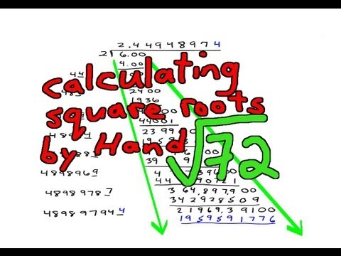 Calculating Square Roots by Hand Example 2: (72)^(1/2)