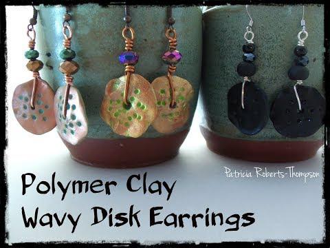 Polymer Clay Wavy Disk Earrings