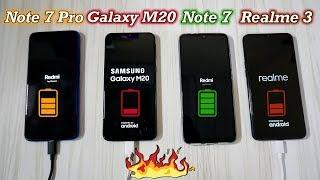 Redmi Note 7 Pro vs Galaxy M20 vs Realme 3 Charging Speed Test : Aag lga Di 🔥