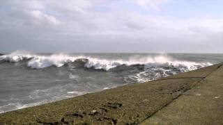 Ardglass Harbour hit by Irish Sea Rouge wave