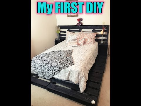 DIY (SUPER EASY) Pallet Bed!! {With LED Foot Light}