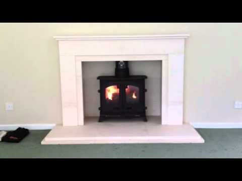 Yeoman Exe Flat Top Multi Fuel in Portuguese Limestone Fireplace,Churtown, Southport