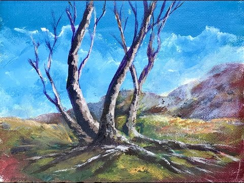 Painting Trees with brush and Palette Knife with Ginger Cook