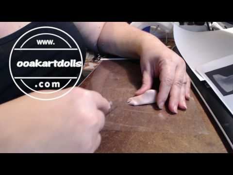 Tutorial for sculpting polymer clay feet with toes Part one
