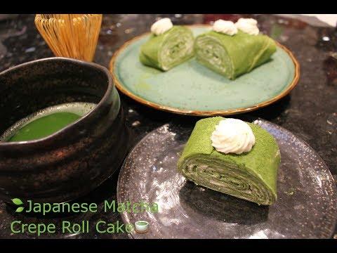 How to Make Japanese Matcha Crepe Roll Cake