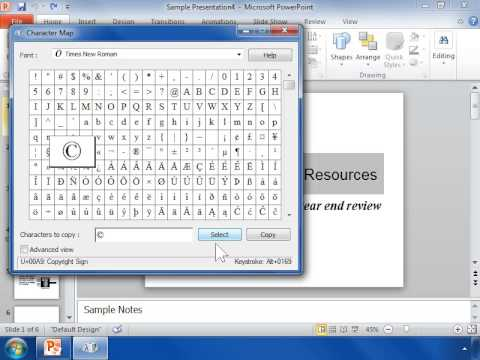 PowerPoint 2010 Type Characters that are Not on the Keyboard