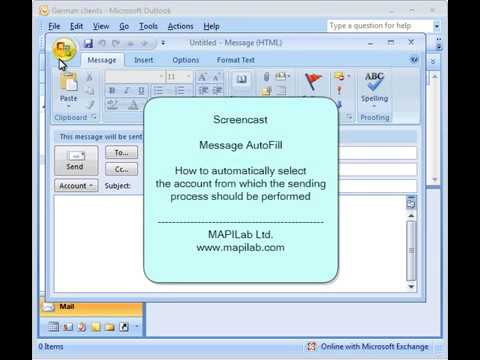 How to automatically select the account from which the Outlook sending process should be performed