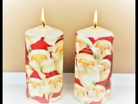 Decoupage Christmas Candles - Fast & Easy Tutorial - DIY